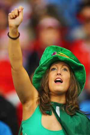 POZNAN, POLAND - JUNE 10:  A Republic of Ireland fan enjoys the atmosphere prior to the UEFA EURO 2012 group C between Ireland and Croatia at The Municipal Stadium on June 10, 2012 in Poznan, Poland.  (Photo by Christof Koepsel/Getty Images)