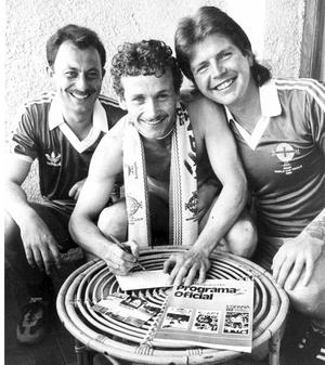 Writing postcards are Richard Creighton, Sean Donnelly and Raymond Ferguson, all from Cookstown. 26/06/1982