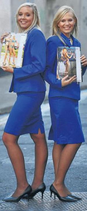 English stewardess Charlotte (Miss Wild) and Slovakian Ingrid (Miss Mechanic) promote the Ryanair calendar in Dublin