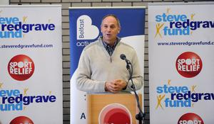 Sir Steve Redgrave talks to the assembled guests during the event at Queen's
