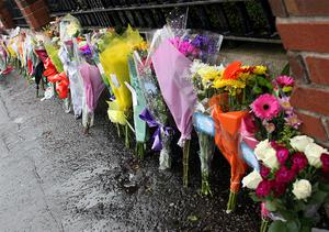 Flowers at the scene of Bobby Moffett's murder on the Shankill Road