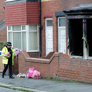The scene of the house fire in Bridlington where the three children died