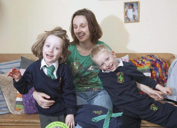 Marianne Kennerley at home with daughter Cerys and son Peter