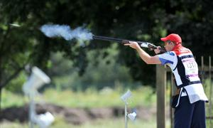 Great Britain's Richard Brickell during Day 1 of the Skeet Qualification Round at the Royal Artillery Barracks, London, on the third day of the London 2012 Olympics.