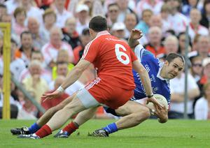 Tyrone's Conor Gormley and Monaghan's Paul Finlay