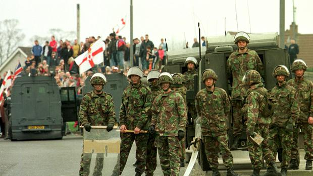 Northern Ireland Troubles gallery.....Nationalist Protest March At Garvaghy Road March 1998. Security Forces kept a Loyalist counter demonstration at a safe distance from Nationalist marchers near Oben Street, Portadown