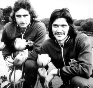 Trevor Anderson (right) with Martin O'Neill, Ireland's promising young strikers, relax among the tulips in the team headquarters in Southport, May 1973
