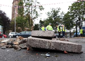 Clear up after overnight trouble in east Belfast.