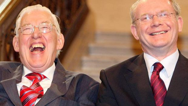 Ian Paisley and Martin McGuinness after being sworn in as ministers of the Northern Ireland Assembley, Stormont.