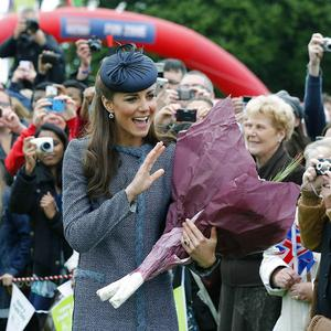 The Duchess of Cambridge waves to well-wishers in Vernon Park, Nottingham