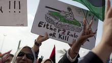Libyan women demonstrate during a rally in support of the allied air campaigns against Gaddafi's troops (AP)