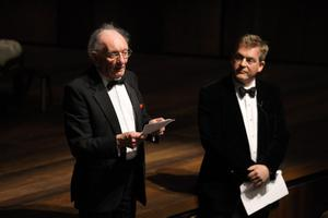 Playwright Brian Friel and Lyric chairman Mark Carruthers OBE took centre stage to address the audience at the gala opening of the new Lyric Theatre on Sunday 1st May