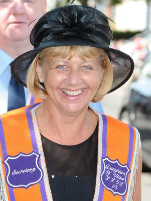 Jacqui Swann, secretary of the Daughters of Ulster Ladies Lodge on parade in Limavdy