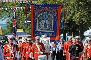 The New Stevenson band from Scotland leads Ballykelly LoL No. 699 through Limavady