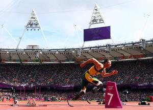 LONDON, ENGLAND - AUGUST 04:  Oscar Pistorius of South Africa competes in the Men's 400m Round 1 Heats on Day 8 of the London 2012 Olympic Games at Olympic Stadium on August 4, 2012 in London, England.  (Photo by Michael Steele/Getty Images)