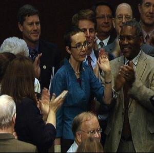 Gabrielle Giffords appeared on the House of Representatives floor for the first time since being shot (AP)