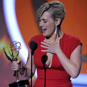 Kate Winslet accepts the award for outstanding lead actress in a mini-series or movie for Mildred Pierce (AP)