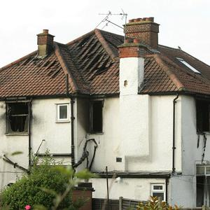 The semi-detached property in Sonia Gardens, Neasden, north-west London, was engulfed by flames at the height of the fire