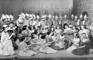 """Scene from the comic opera """"Patience,"""" by Gilbert and Sullivan, which is being presented by pupils of Grosvenor High School, Belfast tomorrow, 1971."""