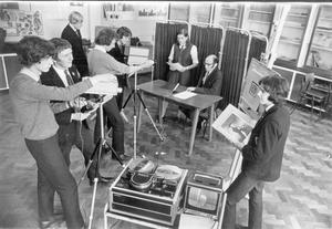 Pupils at Grosvenor High School record a documentary about the Battle of Trafalgar on Video Tape, 1971.