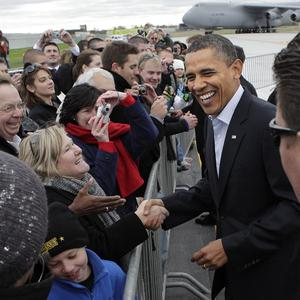 President Barack Obama greets people before a rally (AP)