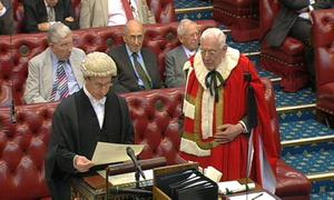 Ian Paisley takes his seat in the House of Lords...Ian Paisley, the former Northern Ireland first minister, took his seat in the House of Lords today as Lord Bannside. PRESS ASSOCIATION Photo. Picture date: Monday July 05, 2010. Lord Bannside was one of 56 new peers announced on one day by Downing Street and today he was introduced to the upper chamber along with two Labour peers, Jeannie Drake and Maeve Sherlock. See PA story LORDS Paisley. Photo credit should read: PA Wire...A
