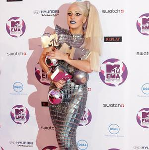 Singer Lady Gaga dedicated her wins to her fans, who she dubbed little monsters