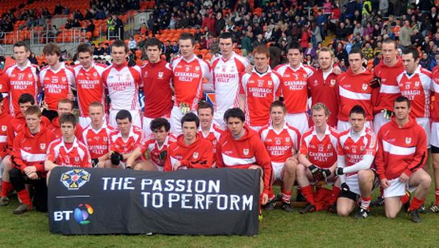 The St Patrick's Academy, Dungannon, team pose before the MacRory Cup Final at the Athletic Ground's Armagh