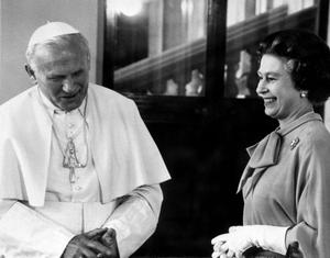 File photo dated 28/05/1982 of Pope John Paul II and Queen Elizabeth II meeting at Buckingham Palace, London. PRESS ASSOCIATION Photo