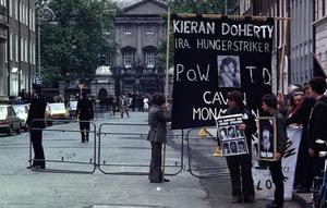 Hunger strike protesters outside the Dail in Dublin 1981