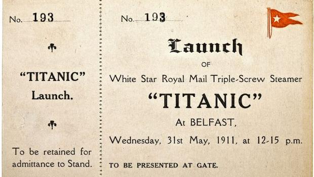 An original unused Titanic launch ticket, which was sold at Bonhams in New York for £35,600