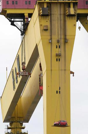 The Top Gear team roll into Belfast's docks to film a scene on top of one of Harland and Wolff's famous twin Gantry cranes, Samson.