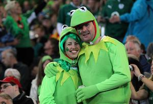 Ireland fans in the stands wearing fancy dress during the IRB Rugby World Cup match at the Otago Stadium, Dunedin, New Zealand. PRESS ASSOCIATION Photo. Picture date: Sunday October 2, 2011. See PA story RUGBYU Ireland. Photo credit should read: Lynne Cameron/PA Wire. RESTRICTIONS Use subject to restrictions. Editorial reporting purposes only; no images to be used to simulate a moving image. Commercial including Book use only with prior written approval. Call +44 (0) 1158 447447 or see www.pressassociation.com/images/restrictions.