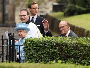 Queen Elizabeth II and the Duke of Edinburgh arrive at St. Macartin's Cathedral in Enniskillen, County Fermanagh, during a two-day visit to Northern Ireland as part of the Diamond Jubilee tour.