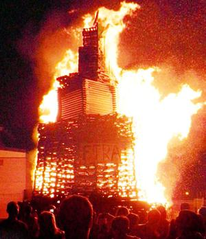 The Twelfth of July bonfire at Sandy Row. July 2010
