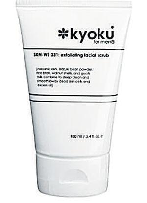 <b>Kyoku for Men Exfoliating Facial Scrub</b><br/>  This is a very gentle facial cleanser combining camellia and peppermint leaf that work together to penetrate pores and help promote cell regeneration.<br/>  <b>Where </b>Kyoku (www.kyokuformen.com) <br/>  <b>How much</b> £19 (100ml)