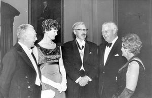 Professor Wilson (left), president of the Methodist College Old Boys' Association, at the school's centenary banquet in the City Hall, with (from left) Dr. Hugh Flack, from Pietermaritzburg; Miss Louise Rangecroft and Mr. W.R. Rangecroft, from Johannesburg, and Mrs. Eillen Lockhart, president of the Old Girls' Association. Dr. Flack and Mr. Rangecroft were at MCB in the 1920's and flew from South Africa for the centenary celebrations, 1968.