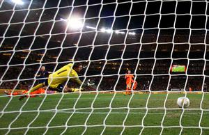 Andres Iniesta of Spain scores the winning goal past Maarten Stekelenburg of the Netherlands during the 2010 FIFA World Cup South Africa Final match between Netherlands and Spain at Soccer City Stadium on July 11, 2010 in Johannesburg, South Africa