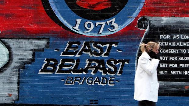 A Loyalist mural on the Newtownards road in Belfast