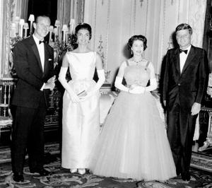 05/06/1961 American President John F Kennedy (right) and his wife Jacqueline (second from left) pictured with Queen Elizabeth II (second from right) and the Duke of Edinburgh (left) at Buckingham Palace, in London.