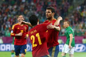 GDANSK, POLAND - JUNE 14:  Cesc Fabregas of Spain celebrates scoring their fourth goal with Daivd Silva during the UEFA EURO 2012 group C match between Spain and Ireland at The Municipal Stadium on June 14, 2012 in Gdansk, Poland.  (Photo by Michael Steele/Getty Images)
