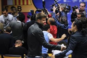 BARCELONA, SPAIN - APRIL 27: Gerard Pique of FC Barcelona arrives to the press conference of Head coach Josep Guardiola of FC Barcelona at the Camp Nou stadium on April 27, 2012 in Barcelona, Spain. Josep Guardiola has today announced he is not renewing his contract after a 4 year tenure as Head Coach of the FC Barcelona squad. (Photo by David Ramos/Getty Images)