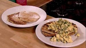 apple pancakes and herby scrambled eggs