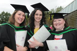 Katie Smith from Banbridge, Sherlyn Logue from Derry and Lisa Brannigan from Fermanagh who received their BSc (Hons) degress from the University of Ulster at Coleraine on monday. Picture Martin McKeown. 27.6.11