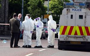 The scene where a man was shot on the Shankill Road