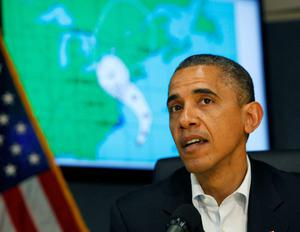 WASHINGTON, DC - OCTOBER 28:  (AFP-OUT) U.S. President Barack Obama makes a statement after a briefing on Hurricane Sandy at FEMA Headquarters on October 28, 2012 in Washington, D.C. Sandy, which has already claimed over 50 lives in the Caribbean, is predicted to bring heavy winds and floodwaters as the mid-atlantic region prepares for the damage.  (Photo by Dennis Brack-Pool/Getty Images)