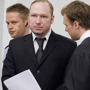 Breivik, centre, said he had plans to capture and kill the former Norwegian Prime Minister (AP)