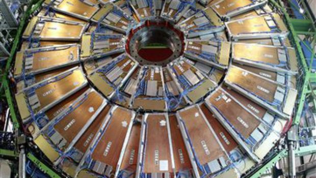 **FILE**This March 22, 2007 file photo, shows the magnet core of the world's largest superconducting solenoid magnet (CMS, Compact Muon Solenoid) at the European Organization for Nuclear Research (CERN)'s Large Hadron Collider (LHC) particle accelerator, which is scheduled to be switched on in November, in Geneva, Switzerland. Some 2,000 scientists from 155 institutes in 36 countries are working together to build the CMS particle detector. (AP Photo/Keystone, Martial Trezzini, file)