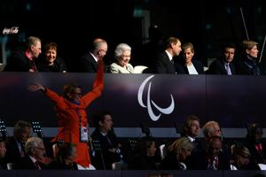 LONDON, ENGLAND - AUGUST 29:  (L-R) IOC President Jacques Rogge,  Jocelyne Craven, Sir Philip Craven MBE, Queen Elizabeth II, Prince Edward, Earl of Wessex, Sophie, Countess of Wessex and LOCOG chairman Lord Sebastian Coe look on during the Opening Ceremony of the London 2012 Paralympics at the Olympic Stadium on August 29, 2012 in London, England.  (Photo by Chris Jackson/Getty Images)