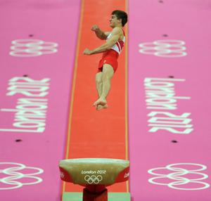 Great Britain's Max Whitlock competes on the vault during the Artistic Gymnastics team final at the North Greenwich Arena, London, on the third day of the London 2012 Olympics